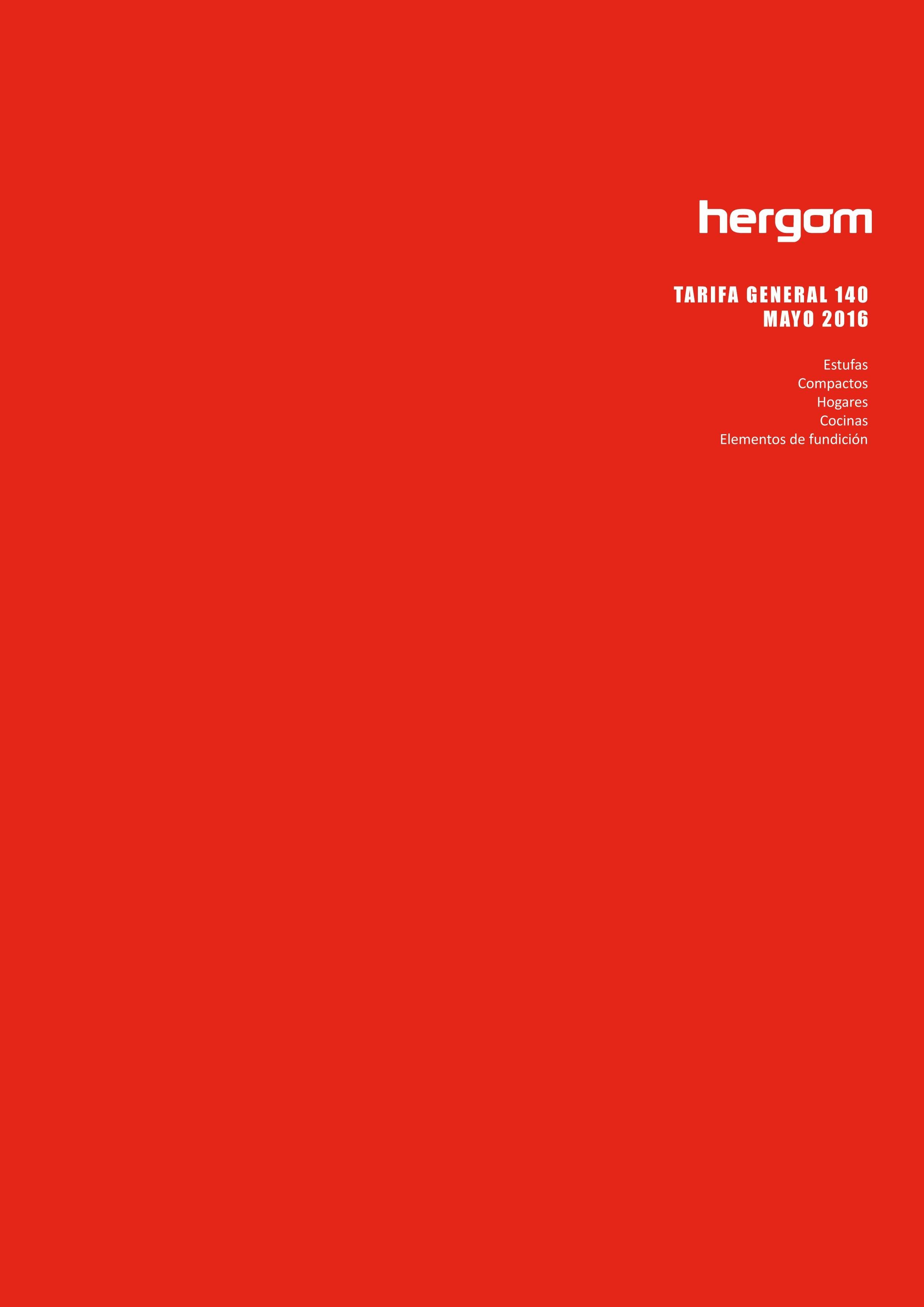 HERGÓM NUEVA TARIFA GENERAL Y COLECCIONES MAYO 2016